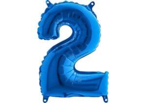 Luftballon Zahl 2 Zahlenballon blau (66 cm)