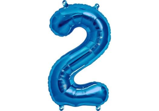 Luftballon Zahl 2 Zahlenballon blau (86 cm)