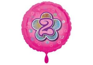Runder Luftballon mit Blume und Zahl 2 pink (38 cm)