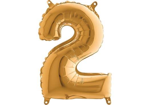 Luftballon Zahl 2 Zahlenballon gold (66 cm)