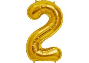 Luftballon Zahl 2 Zahlenballon gold (86 cm)