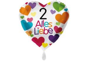 Herzluftballon mit kleinen Herzen Alles Liebe Zahl 2 weiß (38 cm)