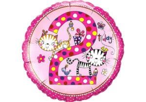 Runder Luftballon mit Katzen Geburtagszahl 2 pink (38 cm)