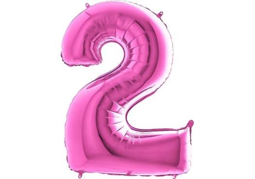 Luftballon Zahl 2 Zahlenballon pink (66 cm)
