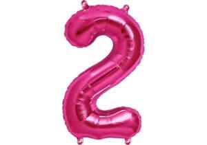 Luftballon Zahl 2 Zahlenballon pink (86 cm)