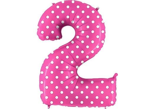 Luftballon Zahl 2 Zahlenballon pink mit weißen Punkten (100 cm)