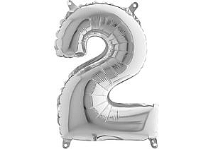 Luftballon Zahl 2 Zahlenballon silber (66 cm)