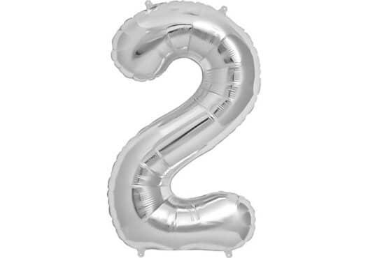 Luftballon Zahl 2 Zahlenballon silber (86 cm)
