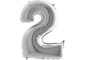 Luftballon Zahl 2 Zahlenballon silber-holographic (100 cm)