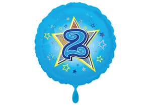 Runder Luftballon mit Stern und Zahl 2 blau (38 cm)
