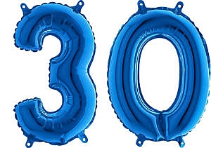 Luftballon Zahl 30 Zahlenballon blau (66 cm)
