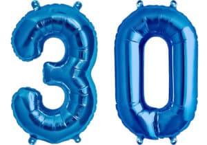 Luftballon Zahl 30 Zahlenballon blau (86 cm)