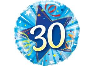 Runder Luftballon mit Stern und Zahl 30 blau (38 cm)