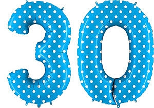 Luftballon Zahl 30 Zahlenballon blau mit weißen Punkten (100 cm)