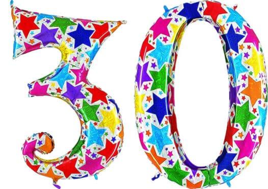 Luftballon Zahl 30 Zahlenballon silber mit bunten Sternen (100 cm)
