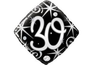 Eleganter Diamant-Luftballon mit Zahl 30 schwarz (38 cm)