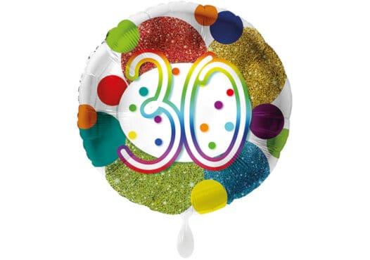 Glitzer-Luftballon mit der Zahl 30 in bunt (38 cm)