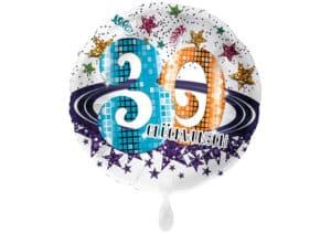 Runder Luftballon mit Glitzersternen und Zahl 30 in weiß (38 cm)
