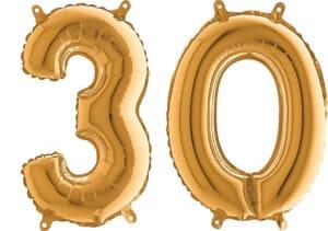 Luftballon Zahl 30 Zahlenballon gold (66 cm)
