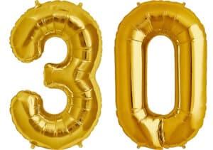 Luftballon Zahl 30 Zahlenballon gold (86 cm)