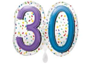Luftballon Geburtstagszahl Zahl 30 bunt (38 cm)