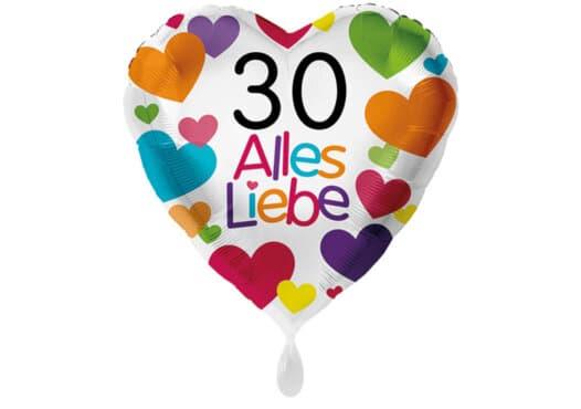 Herzluftballon mit kleinen Herzen Alles Liebe Zahl 30 weiß (38 cm)