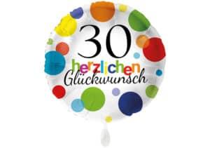 Runder Luftballon mit bunten Punkten Herzlichen Glückwunsch Zahl 30 weiß (38 cm)