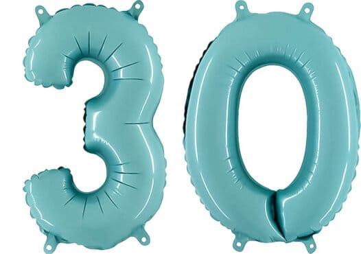 Luftballon Zahl 30 Zahlenballon pastell-blau (100 cm)