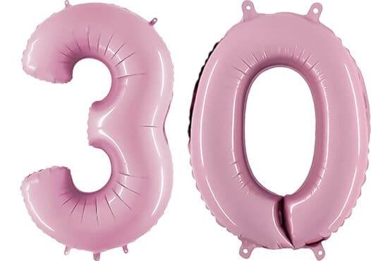 Luftballon Zahl 30 Zahlenballon pastell-pink (100 cm)