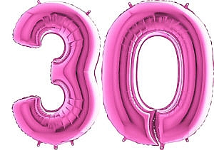 Luftballon Zahl 30 Zahlenballon pink (66 cm)