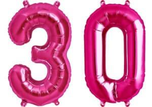 Luftballon Zahl 30 Zahlenballon pink (86 cm)