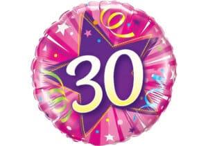 Runder Luftballon mit Stern und Zahl 30 pink (38 cm)