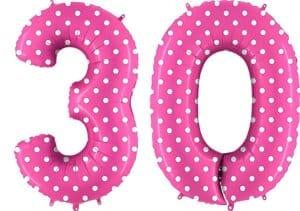 Luftballon Zahl 30 Zahlenballon pink mit weißen Punkten (100 cm)