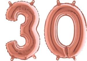 Luftballon Zahl 30 Zahlenballon rosegold (66 cm)