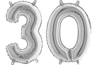 Luftballon Zahl 30 Zahlenballon silber (66 cm)