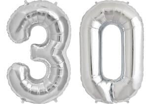 Luftballon Zahl 30 Zahlenballon silber (86 cm)