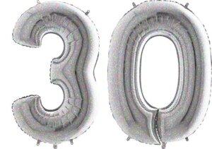 Luftballon Zahl 30 Zahlenballon silber-holographic (100 cm)