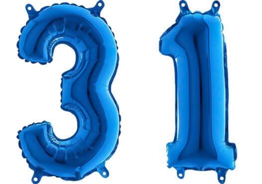 Luftballon Zahl 31 Zahlenballon blau (66 cm)