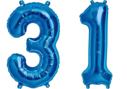 Luftballon Zahl 31 Zahlenballon blau (86 cm)