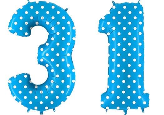 Luftballon Zahl 31 Zahlenballon blau mit weißen Punkten (100 cm)