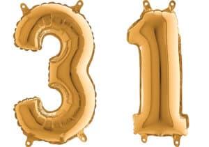 Luftballon Zahl 31 Zahlenballon gold (66 cm)