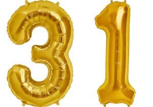 Luftballon Zahl 31 Zahlenballon gold (86 cm)