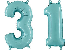 Luftballon Zahl 31 Zahlenballon pastell-blau (100 cm)