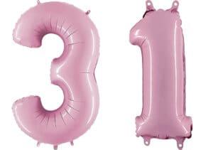 Luftballon Zahl 31 Zahlenballon pastell-pink (100 cm)