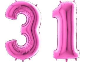 Luftballon Zahl 31 Zahlenballon pink (66 cm)