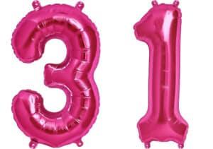 Luftballon Zahl 31 Zahlenballon pink (86 cm)