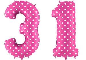 Luftballon Zahl 31 Zahlenballon pink mit weißen Punkten (100 cm)