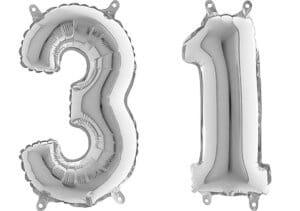 Luftballon Zahl 31 Zahlenballon silber (66 cm)