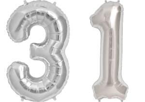 Luftballon Zahl 31 Zahlenballon silber (86 cm)