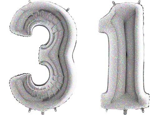Luftballon Zahl 31 Zahlenballon silber-holographic (100 cm)